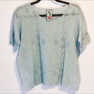 Johnny Was embroidered blue eyelet rayon top sz XS
